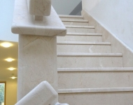 Honed Cream Marfil marble staircase, complete with stone hand rail, Galway