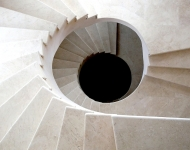Honed Cream Marfil marble spiral staircase, Co. Offaly