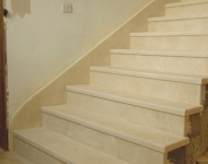 Cream Marfil marble staircase, complete with marble gallery railing, and marble skirting, Co. Clare