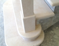 Galala honed limestone grand steps complete with limestone knewl post, Co. Clare