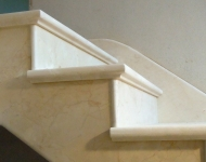 Fully tiled stringer, 40mm Ogee Profile, complete with stone skirting. Stone is honed Galala limestone, Co. Cork.