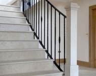 Honed Galala limestone staircase complete with stone knewl posts, Co. Limerick