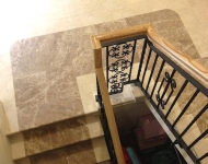 Two toned marble stairs, polished Burdur Beige and Turkish Emperador, Co. Clare