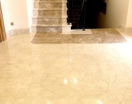 Polished Burdur Beige marble floor with two toned marble stairs in polished Burdur Beige and Turkish Emperador, Co. Clare