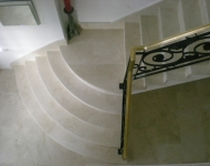 Antiqued/Brushed Cream Marfil marble staircase, Galway