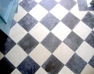 Checker-board floor of Lotus Grey & Galala Limestone tiles Available in- 60x30x2cm, 60x40x2cm, 60x60x2cm, 45xFree Length x2cm. Finishes- Honed, polished, brushed, hammered. Other sizes and:or finishes available upon request.
