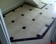 Galala Limestone Tiles with Dark Emperador Border Available in- 60x30x2cm, 60x40x2cm, 60x60x2cm, 45x Free Length x 2cm (Free Length = Various Lengths). Finishes- Brushed, Honed, Hammered.